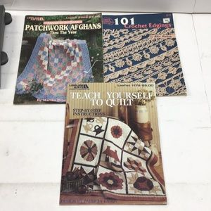 Lot of 3 Craft/Crochet/Quilt/Afghans Books